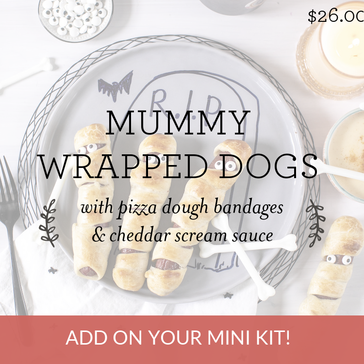 Mummy Wrapped Dogs with pizza dough bandages & cheddar scream sauce